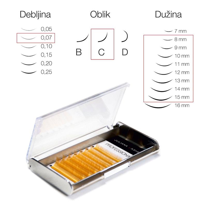 JN Trepavice u boji Silk – Zlatne / 8 linija / 0,07 debljina / 8-15 mm dužina / C oblik