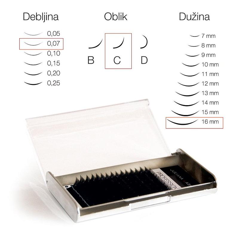 JN Trepavice Silk 16 linija / 0,07 debljina / 16 mm dužina / C oblik
