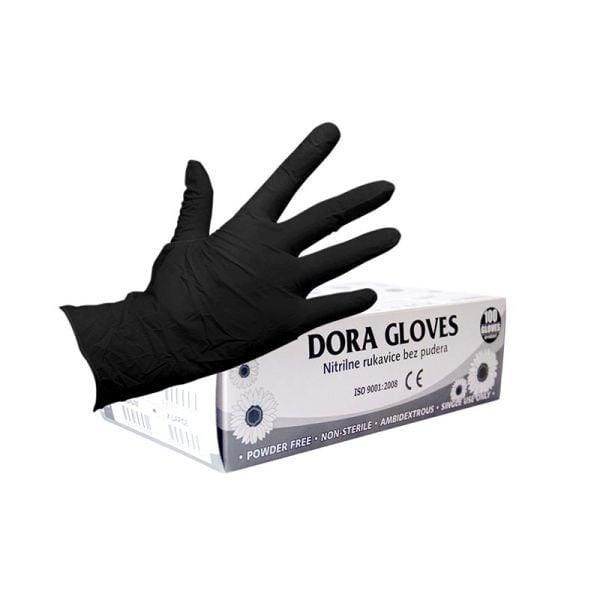 Zaštitne rukavice nitril nepudrane L 100 kom crne