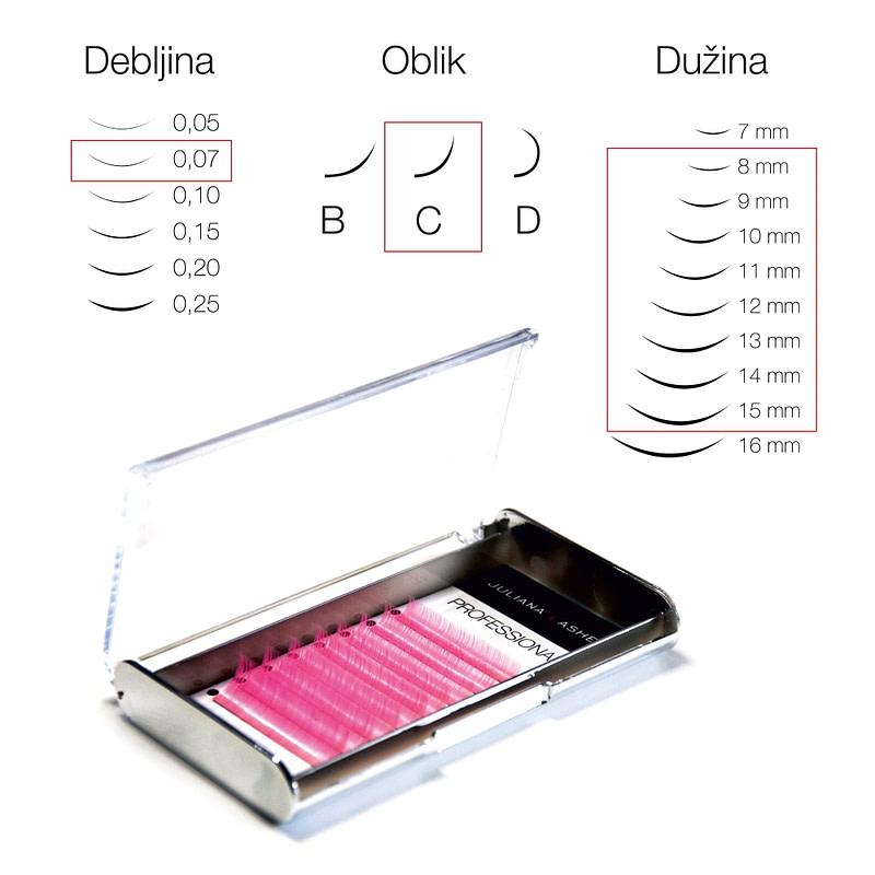JN Trepavice u boji Silk – Pink / 8 linija / 0,07 debljina / 8-15 mm dužina / C oblik