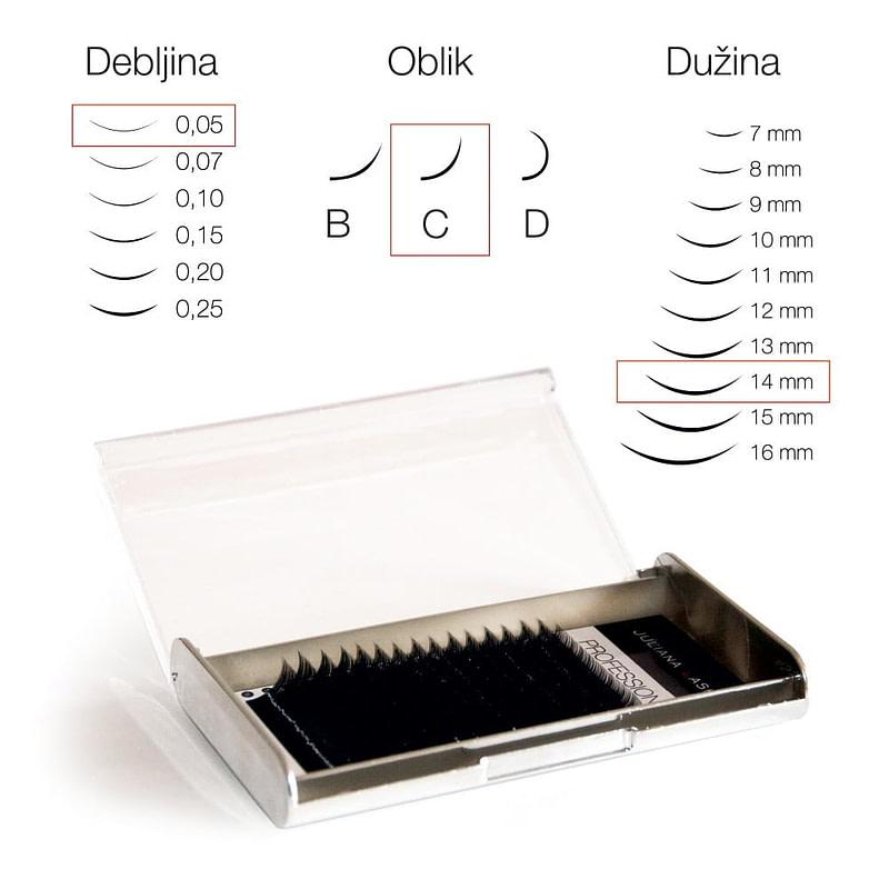 JN Trepavice Silk 16 linija / 0,05 debljina / 14 mm dužina / C oblik