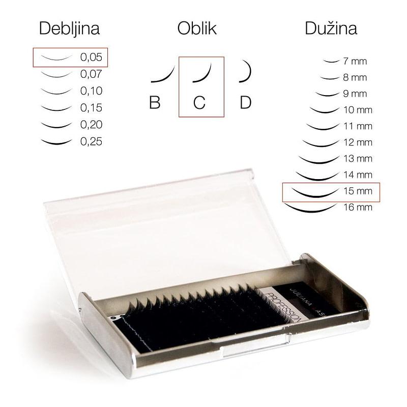 Juliana Lashes – Trepavice silk 16 linija / 0,05 čvrstoća / 15 mm dužina / C oblik