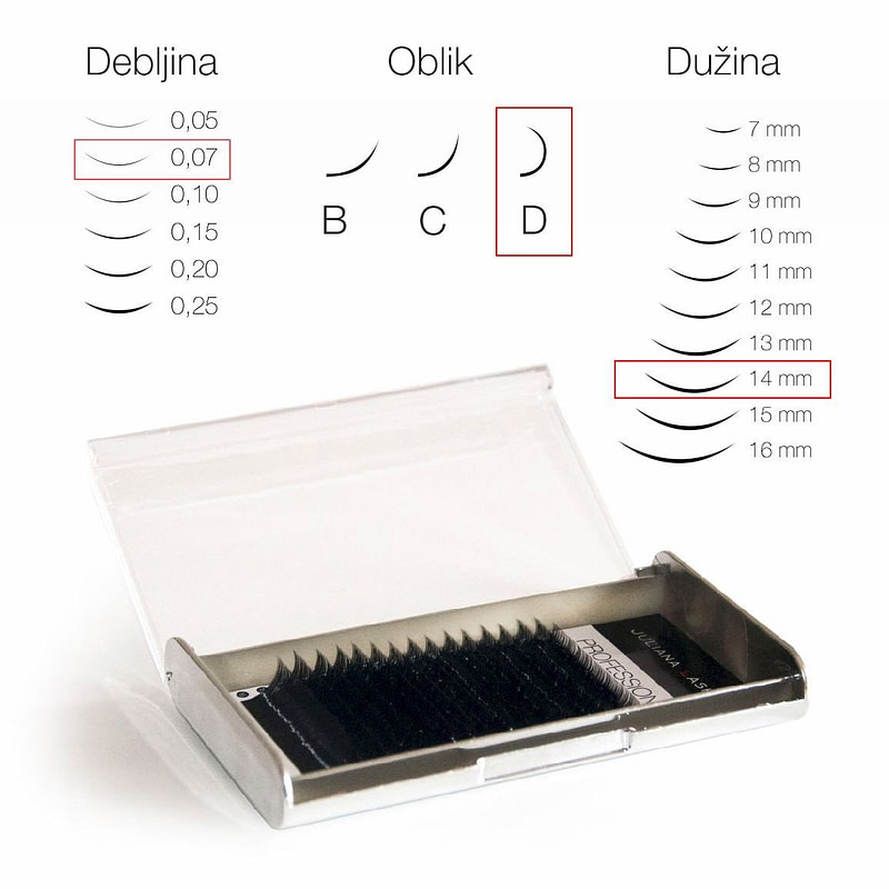 JN Trepavice Silk 16 linija / 0,07 debljina / 14 mm dužina / D oblik
