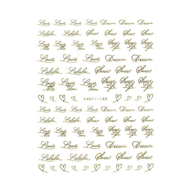 Nail Art naljepnica Love Letter gold