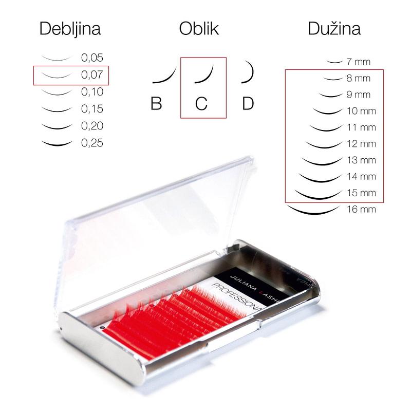 JN Trepavice u boji Silk – Crvene / 8 linija / 0,07 debljina / 8-15 mm dužina / C oblik