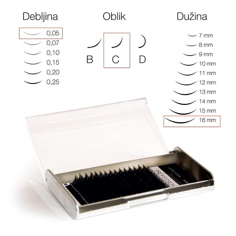 JN Trepavice Silk 16 linija / 0,05 debljina / 16 mm dužina / C oblik