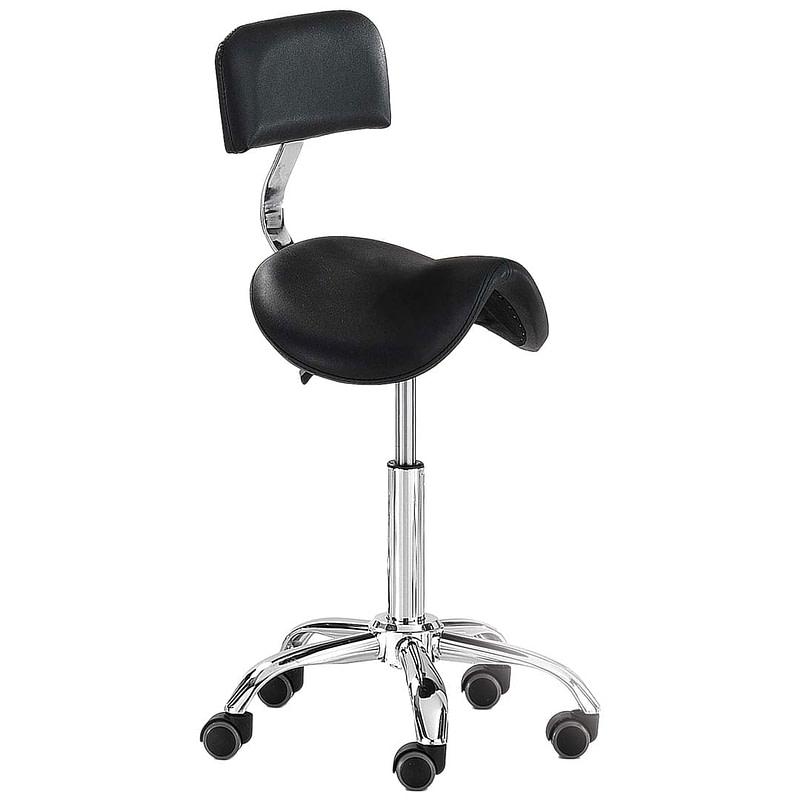 Stolac s kotačićima i naslonom - ergonomski - crni