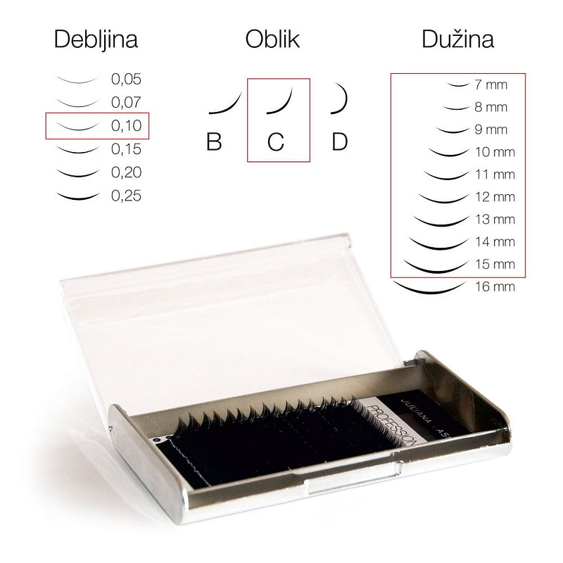 JN Trepavice Silk 16 linija / 0,10 debljina / 7-15 mm dužina / C oblik