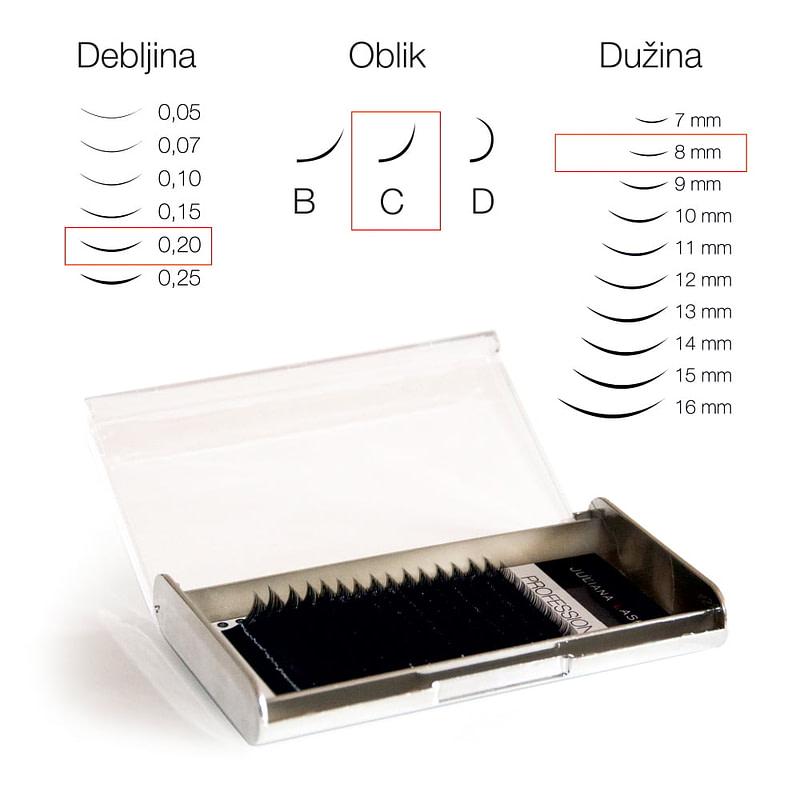 JN Trepavice Silk 16 linija / 0,20 debljina / 8 mm dužina / C oblik