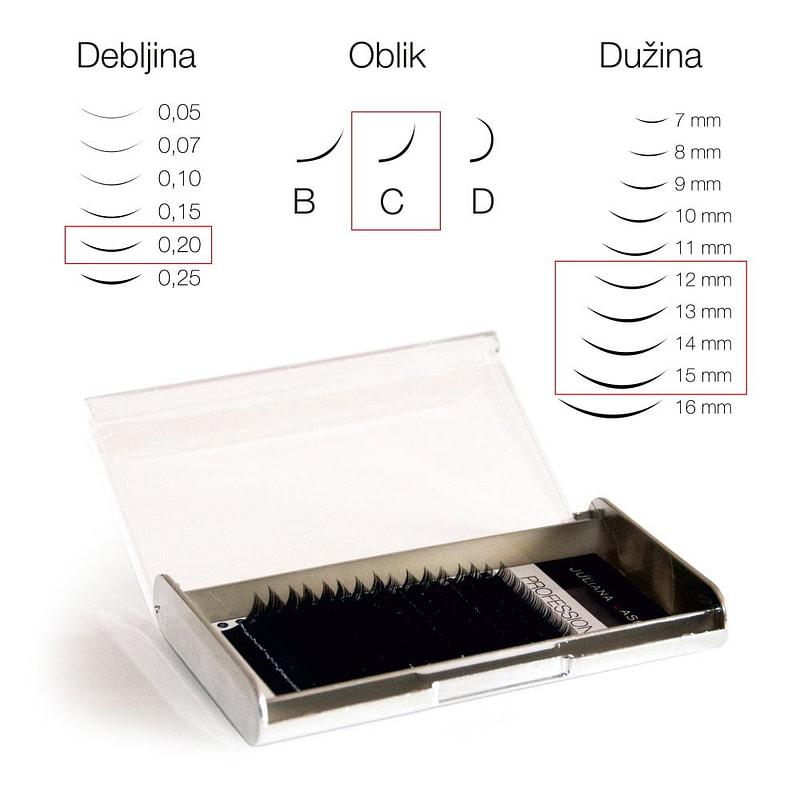 JN Trepavice Silk 16 linija / 0,20 debljina / 12-15 mm dužina / C oblik