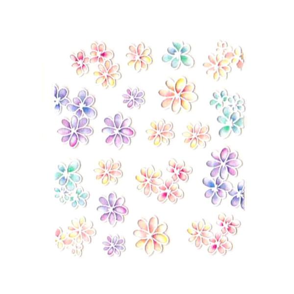 3D Nail Art naljepnica Pastel Blossoms