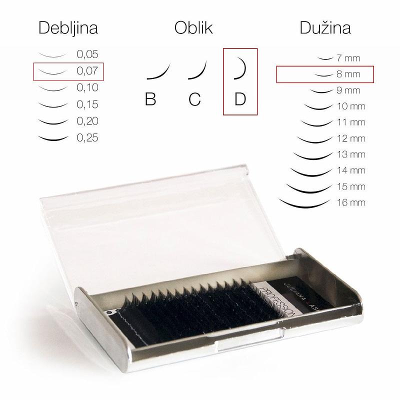 JN Trepavice Silk 16 linija / 0,07 debljina / 8 mm dužina / D oblik