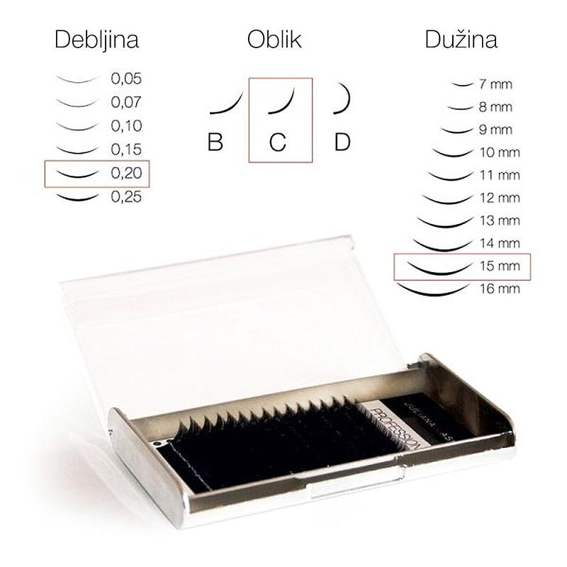 JN Trepavice Silk 16 linija / 0,20 debljina / 15 mm dužina / C oblik