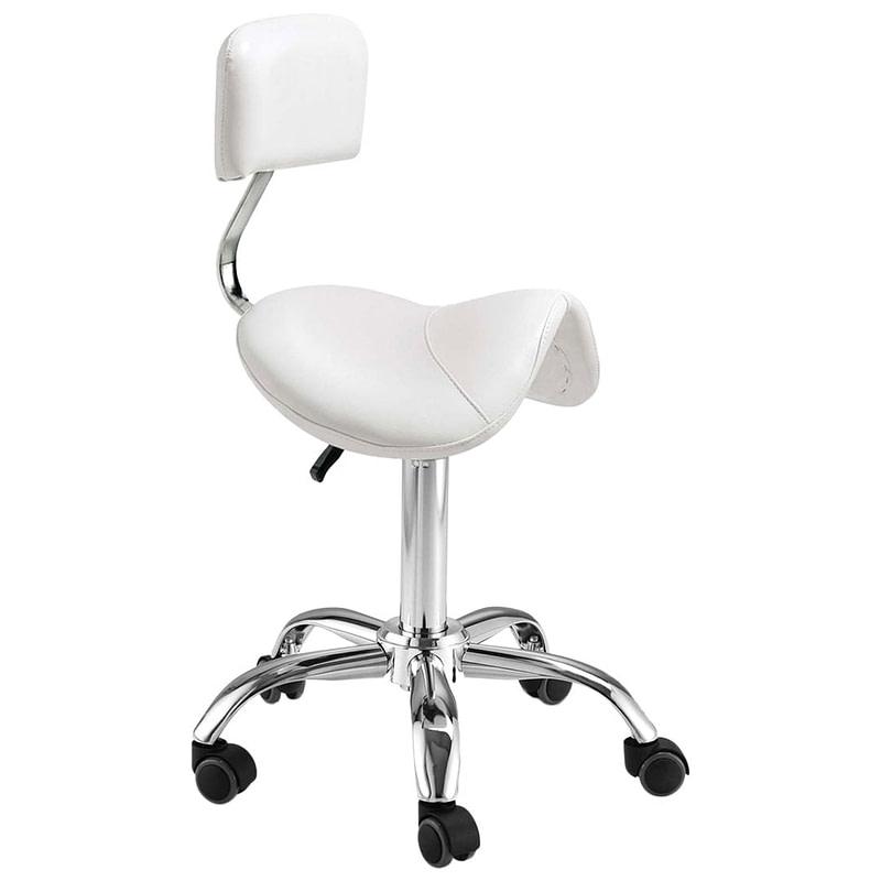 Stolac s kotačićima i naslonom - ergonomski - bijeli