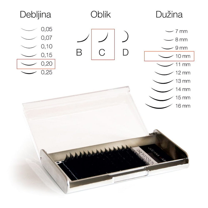 JN Trepavice Silk 16 linija / 0,20 debljina / 10 mm dužina / C oblik